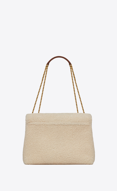 "SAINT LAURENT Monogramme Loulou Woman medium loulou bag in ivory ""y"" shearling b_V4"