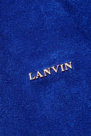 LANVIN Cabas leather-trimmed suede tote
