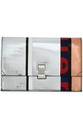 PROENZA SCHOULER Paneled mirrored leather clutch