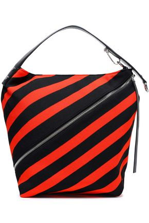 PROENZA SCHOULER Leather-trimmed striped canvas shoulder bag