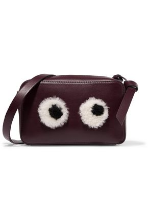 ANYA HINDMARCH Shearling-trimmed leather shoulder bag