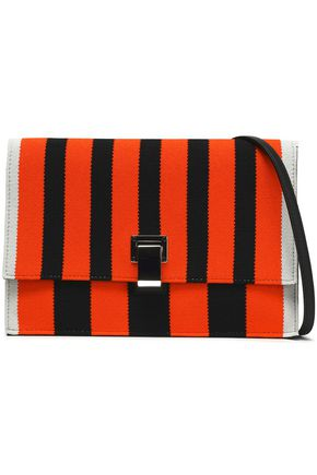 PROENZA SCHOULER Small Lunch Bag leather-trimmed striped knitted shoulder bag