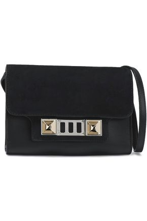 PROENZA SCHOULER Suede-trimmed embellished leather shoulder bag