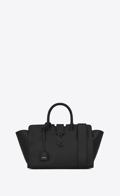 SAINT LAURENT MONOGRAMME TOTE Woman downtown small cabas in smooth and crocodile embossed leather a_V4