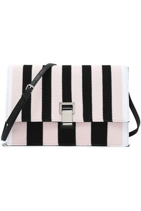 PROENZA SCHOULER Lunch leather-paneled striped intarsia-knit shoulder bag