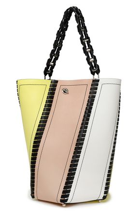 PROENZA SCHOULER Whipstitch-trimmed color-block leather bucket bag