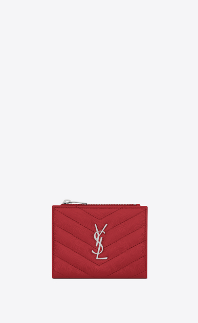 SAINT LAURENT Monogram Matelassé Woman zippered card case in red textured and quilted leather a_V4