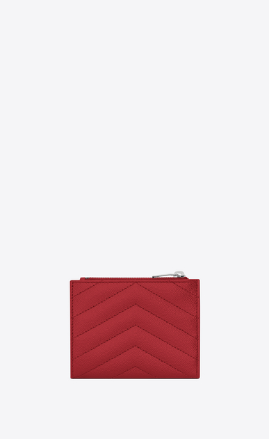 SAINT LAURENT Monogram Matelassé Woman zippered card case in red textured and quilted leather b_V4