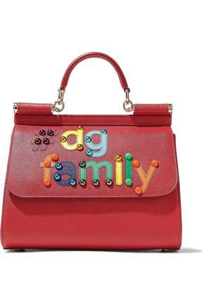 DOLCE & GABBANA Sicily embellished textured-leather shoulder bag