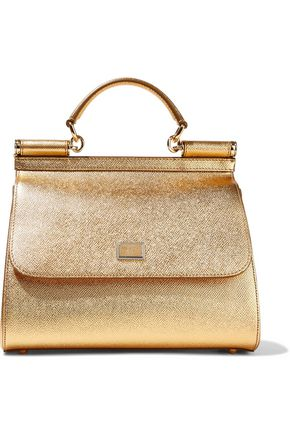 DOLCE & GABBANA Metallic textured-leather shoulder bag