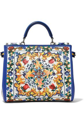 DOLCE & GABBANA Printed textured-leather shoulder bag