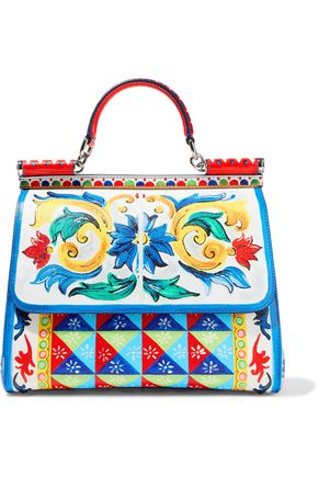 DOLCE & GABBANA Sicily printed textured-leather shoulder bag