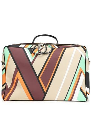 EMILIO PUCCI Crystal-embellished printed textured-leather suitcase