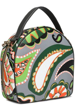 EMILIO PUCCI Chain-trimmed printed textured-leather tote