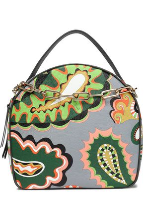EMILIO PUCCI Embellished printed textured-leather shoulder bag