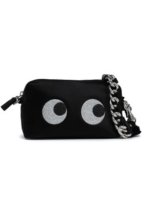 ANYA HINDMARCH Eyes appliquéd satin clutch