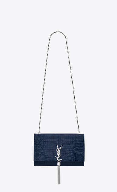 SAINT LAURENT MONOGRAM KATE WITH TASSEL Woman kate medium with tassel in embossed crocodile shiny leather a_V4