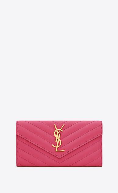 SAINT LAURENT Monogram Matelassé Woman Monogram large flap wallet in grain de poudre embossed leather a_V4