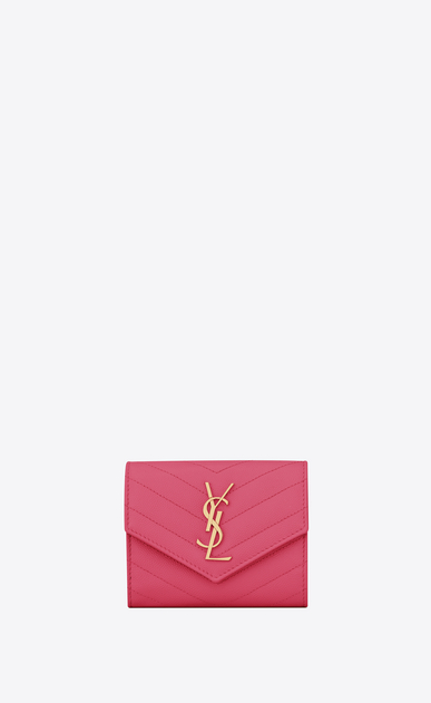 SAINT LAURENT Monogram Matelassé Woman Monogram compact tri fold in grain de poudre embossed leather a_V4