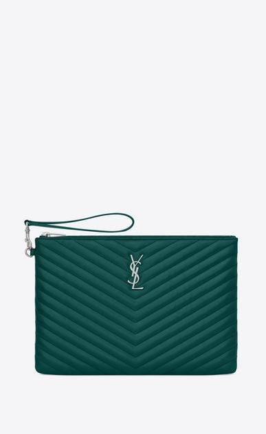 SAINT LAURENT Monogram Matelassé Woman Monogram tablet pouch in matelassé leather a_V4