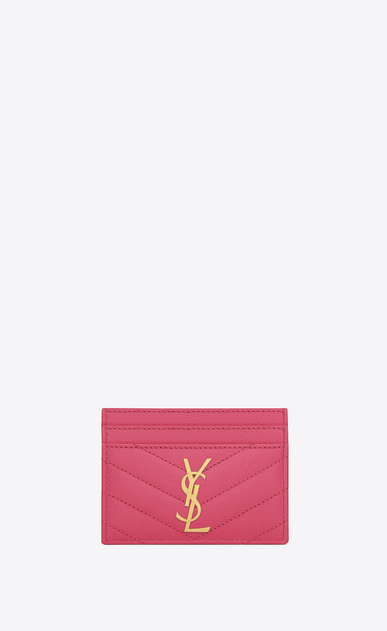 SAINT LAURENT Monogram Matelassé Woman Monogram card case in grain de poudre embossed leather a_V4