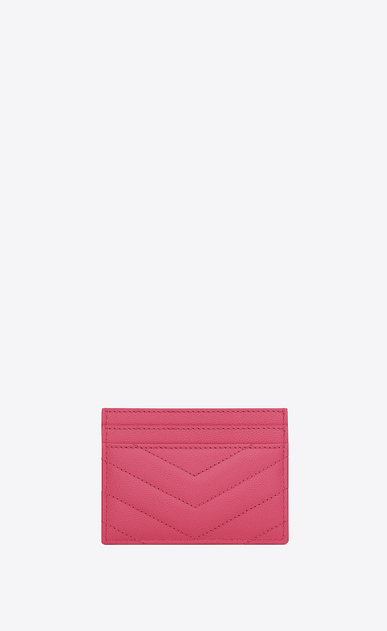 SAINT LAURENT Monogram Matelassé Woman Monogram card case in grain de poudre embossed leather b_V4