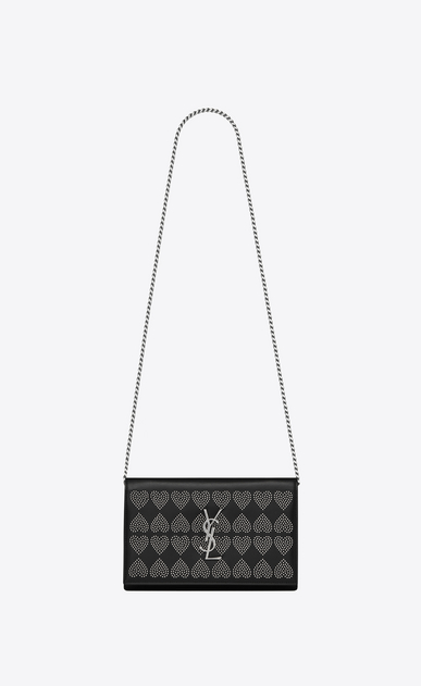 SAINT LAURENT Mini bags Monogramme Woman Monogram chain wallet in leather and heart studs a_V4