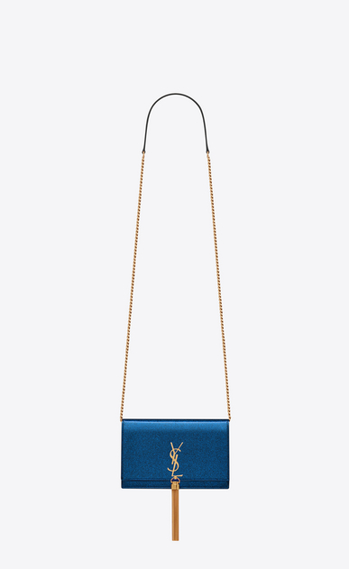 Kate chain wallet with tassel in glitter patent leather