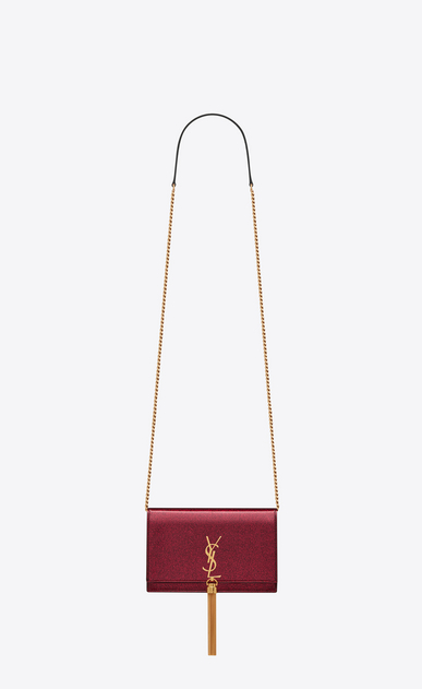 SAINT LAURENT Mini bags Kate Woman Kate chain wallet with tassel in glitter patent leather a_V4