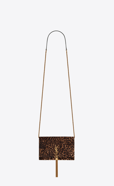 SAINT LAURENT Mini bags Kate Woman kate chain wallet with tassel in leopard printed velvet a_V4