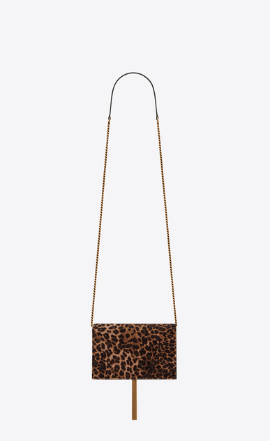 SAINT LAURENT Mini bags Kate Woman kate chain wallet with tassel in leopard printed velvet b_V4