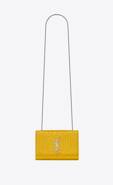 SAINT LAURENT MONOGRAM KATE Woman KATE small in shiny ostrich stamped leather a_V4