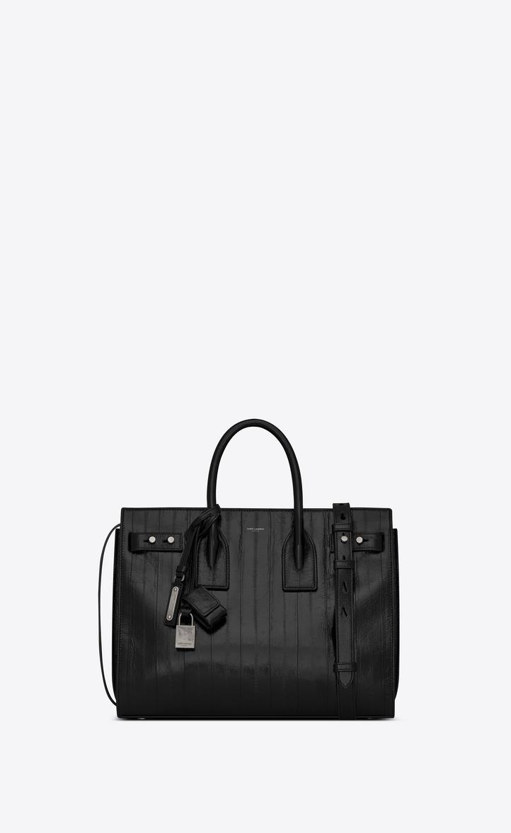 Small Sac De Jour Eelskin Leather Tote - Black
