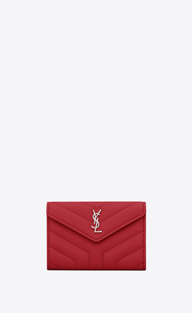 "Loulou small envelope wallet in matelassé ""y"" leather"