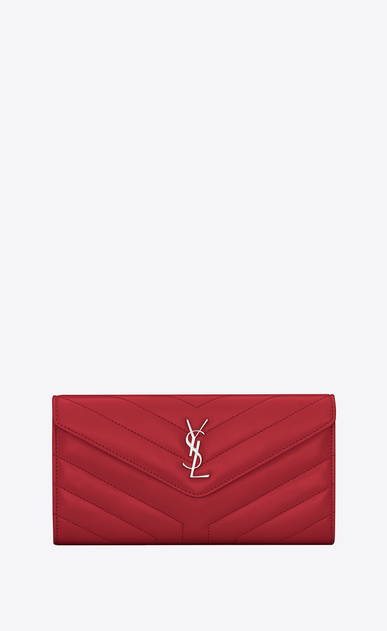 "SAINT LAURENT Monogram Matelassé Woman Loulou large flap wallet in matelassé ""y"" leather a_V4"