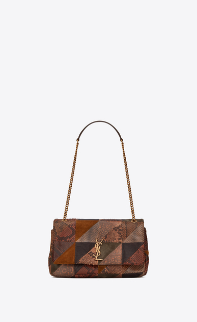 "jamie medium ""carré rive gauche "" in leather, suede and python patchwork"
