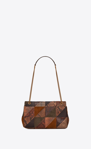 SAINT LAURENT Jamie Damen Mittlere JAMIE Tasche aus beigem und schwarzem Patchwork-Leder und Pythonhaut b_V4