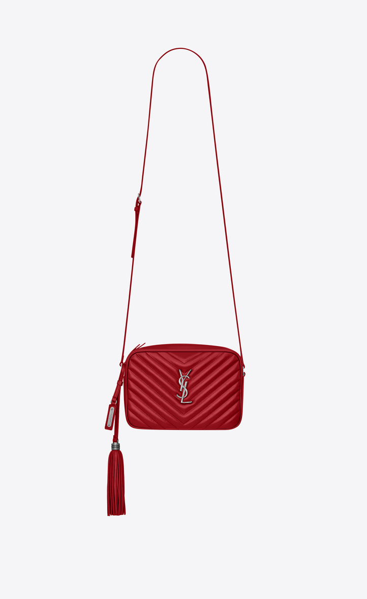 2242a8ee98c Saint Laurent Loulou Monogram Ysl Medium Chevron Quilted Leather Camera  Shoulder Bag, Rouge .