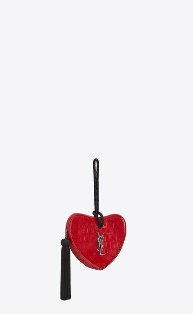 SAINT LAURENT Love Bag Donna monogram clutch cuore in vernice stampa coccodrillo b_V4
