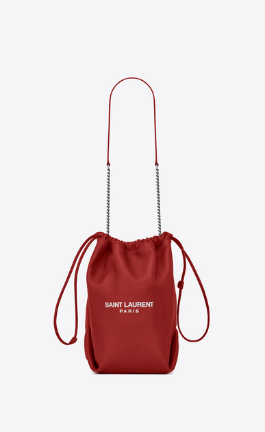 SAINT LAURENT Bucket Bag Woman teddy drawstring bag in smooth leather a_V4