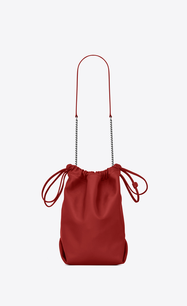 SAINT LAURENT Bucket Bag Woman teddy drawstring bag in smooth leather b_V4