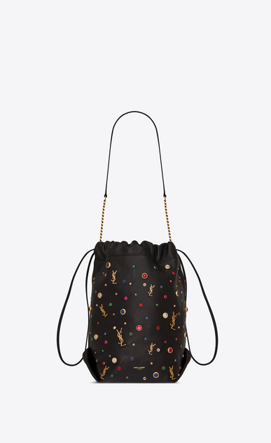 SAINT LAURENT Bucket Bag Woman teddy bucket bag in leather and charms a_V4
