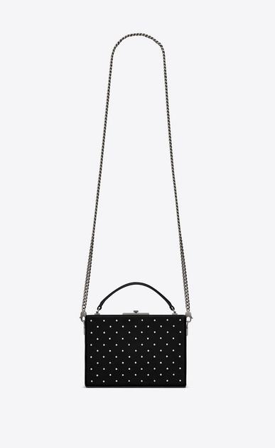 SAINT LAURENT YSL BOX Damen NAN Boxtasche aus schwarzem Leder mit silberfarbenen Nieten a_V4