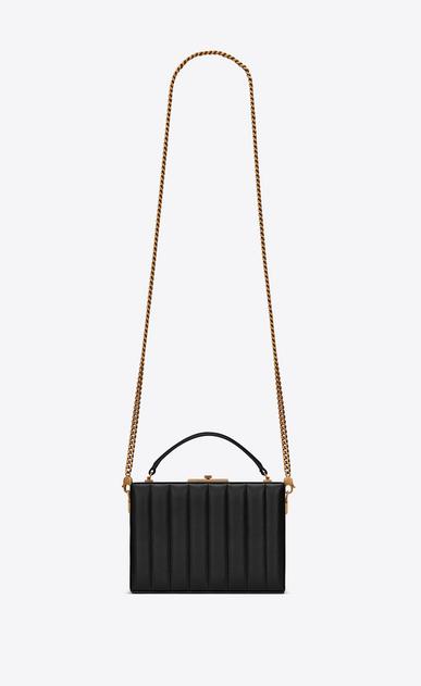 SAINT LAURENT YSL BOX Damen NAN Boxtasche aus schwarzem Leder mit Steppnähten a_V4
