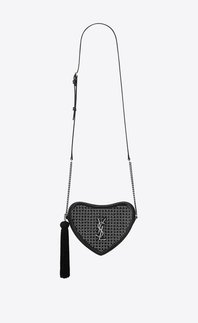 SAINT LAURENT Love Bag Woman monogram heart cross body bag in smooth leather and eyelets a_V4