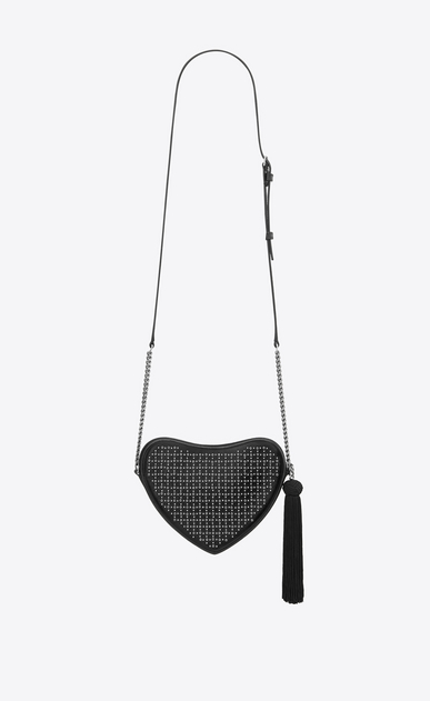 SAINT LAURENT Love Bag Woman monogram heart cross body bag in smooth leather and eyelets b_V4