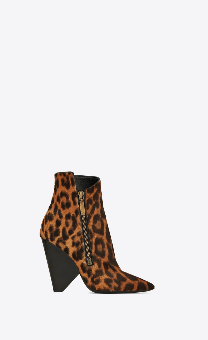 Niki Leopard-Print Calf Hair Ankle Boots in Brown