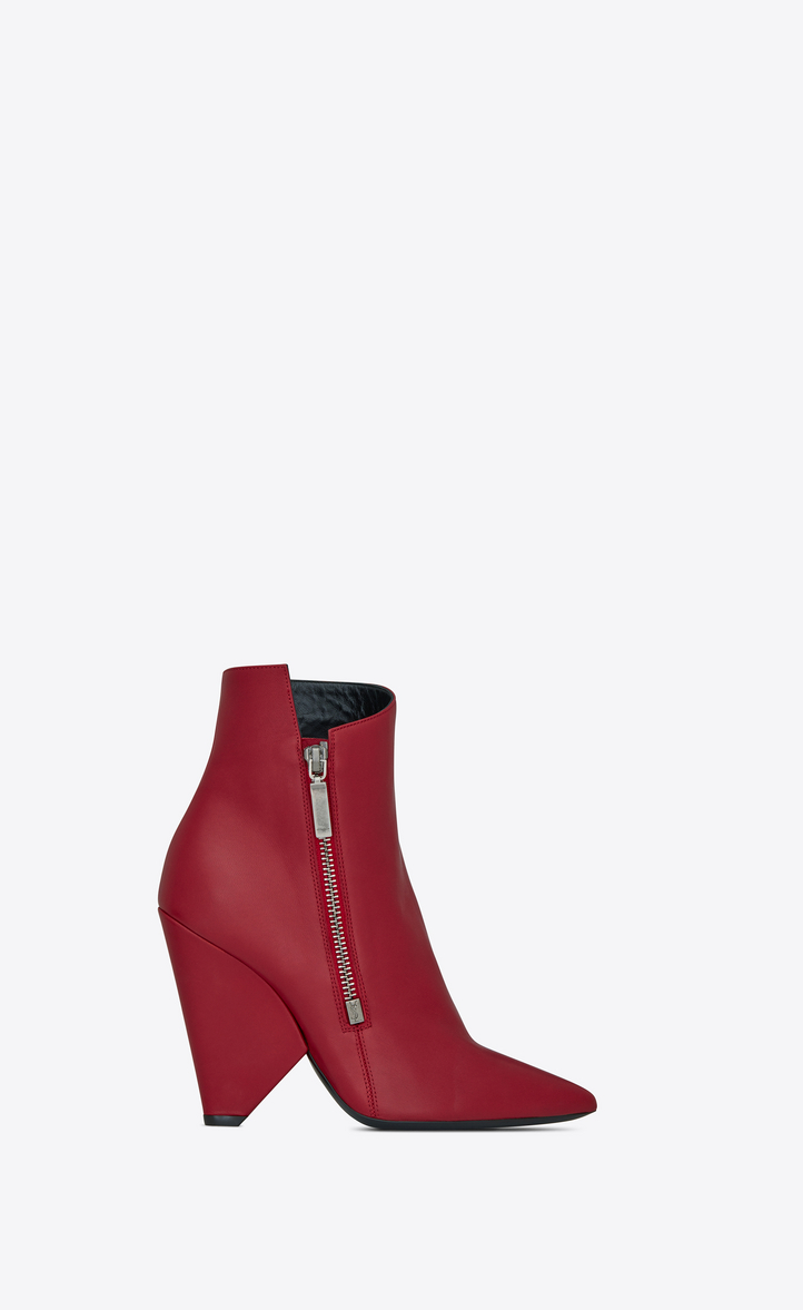 Niki 105 Zipped Ankle Boots in Red
