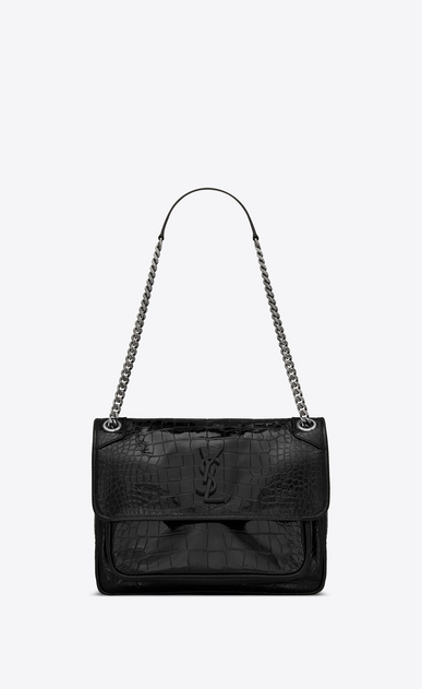 Niki Medium In Crocodile Embossed Patent Leather