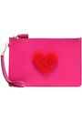 ANYA HINDMARCH Shearling-appliquéd leather pouch
